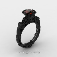 Caravaggio 14K Black Gold 1.0 Ct Brown and Black Diamond Engagement Ring R623-14KBGBDBRD
