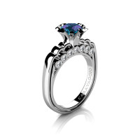 Caravaggio Classic 14K White Gold 1.0 Ct Alexandrite Diamond Engagement Ring R637-14KWGDAL