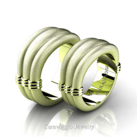 Caravaggio Classic 18K Matte Green Gold Wedding Ring Set R2001S-18KGGSS