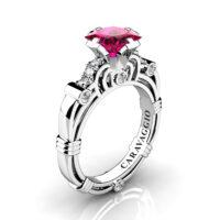 Art Masters Caravaggio 950 Platinum 1.25 Ct Princess Deep Red Ruby Diamond Engagement Ring R623P-PLATDDR