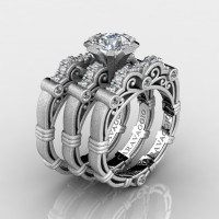 Art Masters Caravaggio Trio 14K Matte White Gold 1.0 Ct White Sapphire White Diamond Engagement Ring Wedding Band Set R623S3-14KMWGDWS
