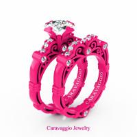 London Exclusive Caravaggio 14K Fuchsia Pink Gold 1.25 Ct Princess White Sapphire Diamond Engagement Ring Wedding Band Set R623PS-14KFPGDWS