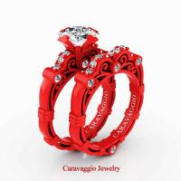London Exclusive Caravaggio 14K Red Gold 1.25 Ct Princess White Sapphire Diamond Engagement Ring Wedding Band Set R623PS-14KREGDWS