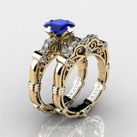 Art Masters Caravaggio 14K Yellow Gold 1.25 Ct Princess Blue Sapphire Diamond Engagement Ring Wedding Band Set R623PS-14KYGDBS