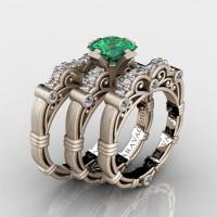 Art Masters Caravaggio Trio 14K Matte Rose Gold 1.25 Ct Princess Emerald Diamond Engagement Ring Wedding Band Set R623PS3-14KMRGDEM
