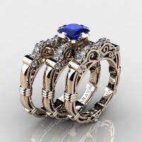 Art Masters Caravaggio Trio 14K Rose Gold 1.25 Ct Princess Blue Sapphire Diamond Engagement Ring Wedding Band Set R623PS3-14KRGDBS