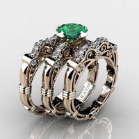 Art Masters Caravaggio Trio 14K Rose Gold 1.25 Ct Princess Emerald Diamond Engagement Ring Wedding Band Set R623PS3-14KRGDEM