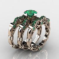 Art Masters Caravaggio Trio 14K Rose Gold 1.25 Ct Princess Emerald Engagement Ring Wedding Band Set R623PS3-14KRGEM