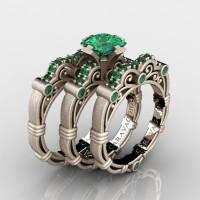 Art Masters Caravaggio Trio 14K Matte Rose Gold 1.25 Ct Princess Emerald Engagement Ring Wedding Band Set R623PS3-14KMRGEM
