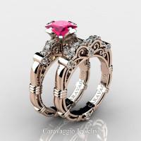 Art Masters Caravaggio 14K Rose Gold 1.25 Ct Princess Pink Sapphire Diamond Engagement Ring Wedding Band Set R623PS-14KRGDPS