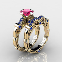 Art Masters Caravaggio 14K Yellow Gold 1.25 Ct Princess Pink and Blue Sapphire Engagement Ring Wedding Band Set R623PS-14KYGBSPS