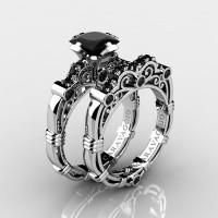 Art Masters Caravaggio 14K White Gold 1.25 Ct Princess Black Sapphire Engagement Ring Wedding Band Set R623PS-14KWGBLS