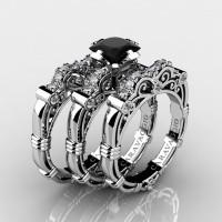 Art Masters Caravaggio Trio 14K White Gold 1.25 Ct Princess Black Sapphire Diamond Engagement Ring Wedding Band Set R623PS3-14KWGDBLS