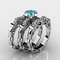 Art Masters Caravaggio Trio 14K White Gold 1.25 Ct Princess Blue Diamond Engagement Ring Wedding Band Set R623PS3-14KWGDBLD