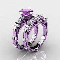 Art Masters Caravaggio 14K Lilac Gold 1.25 Ct Princess Amethyst Diamond Engagement Ring Wedding Band Set R623PS-14KLGDAM