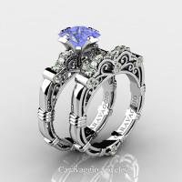 Art Masters Caravaggio 950 Platinum 1.25 Ct Princess Tanzanite Diamond Engagement Ring Wedding Band Set R623PS-PLATDTA