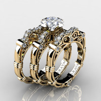 Art Masters Caravaggio Trio 14K Yellow Gold 1.25 Ct Princess White Sapphire Diamond Engagement Ring Wedding Band Set R623PS3-14KYGDWS