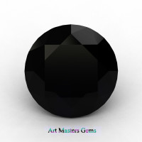 Art Masters Gems Calibrated 5.0 Ct Round Black Sapphire Created Gemstone RCG0500-BLS