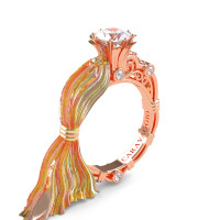 Caravaggio Ready to Wear Kimberly 14K Silk Rose Gold 1.0 Ct White Sapphire Engagement Ring R643E-14KTTSRGWS