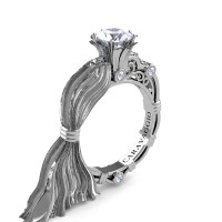 Caravaggio Ready to Wear Kimberly 14K Silk White Gold 1.0 Ct White Sapphire Engagement Ring R643E-14KSWGWS
