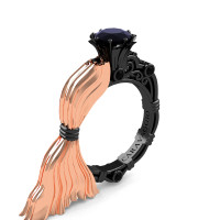 Caravaggio Luxury Italian 14K Rose and Black Gold 1.0 Ct Black Sapphire Engagement Ring R643E-14KRBGBLS