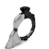 Caravaggio Luxury Italian 14K White and Black Gold 1.0 Ct Black Sapphire Engagement Ring R643E-14KWBGBLS