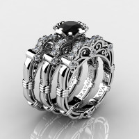 Art Masters Caravaggio Trio 950 Platinum 1.0 Ct Black Sapphire White Diamond Engagement Ring Wedding Band Set R623S3-PLATDBLS