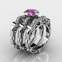 Art Masters Caravaggio Trio 950 Platinum 1.0 Ct Light Pink Sapphire White Diamond Engagement Ring Wedding Band Set R623S3-PLATDLPS