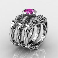 Art Masters Caravaggio Trio 950 Platinum 1.0 Ct Pink Sapphire White Diamond Engagement Ring Wedding Band Set R623S3-PLATDPS