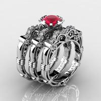 Art Masters Caravaggio Trio 950 Platinum 1.0 Ct Rose Ruby Diamond Engagement Ring Wedding Band Set R623S3-PLATDRR