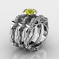 Art Masters Caravaggio Trio 950 Platinum 1.0 Ct Yellow Sapphire White Diamond Engagement Ring Wedding Band Set R623S3-PLATDYS