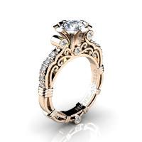 Art Masters Michelangelo 14K Rose Gold 1.0 Ct White Sapphire Diamond Engagement Ring R723-14KRGDWS