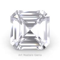 Art Masters Gems Standard 0.75 Ct Asscher White Sapphire Created Gemstone ACG075-WS