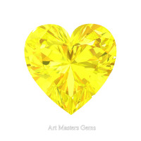 Art Masters Gems Standard 0.75 Ct Heart Yellow Sapphire Created Gemstone HCG075-YS
