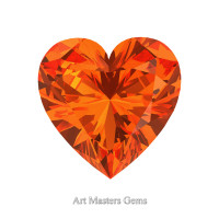 Art Masters Gems Standard 0.75 Ct Heart Orange Sapphire Created Gemstone HCG075-OS