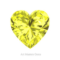 Art Masters Gems Standard 1.0 Ct Heart Canary Yellow Sapphire Created Gemstone HCG100-CYS