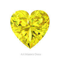 Art Masters Gems Standard 1.5 Ct Heart Yellow Sapphire Created Gemstone HCG150-YS