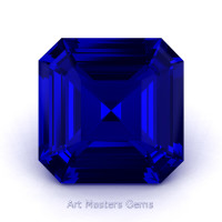 Art Masters Gems Standard 2.0 Ct Asscher Blue Sapphire Created Gemstone ACG200-BS