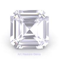 Art Masters Gems Standard 2.0 Ct Asscher White Sapphire Created Gemstone ACG200-WS