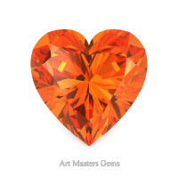Art Masters Gems Standard 3.0 Ct Heart Orange Sapphire Created Gemstone HCG300-OS