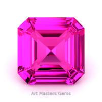 Art Masters Gems Standard 4.0 Ct Asscher Pink Sapphire Created Gemstone ACG400-PS