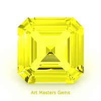 Art Masters Gems Standard 4.0 Ct Asscher Yellow Sapphire Created Gemstone ACG400-YS