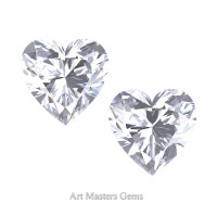 Art Masters Gems Set of Two Standard 0.75 Ct Heart White Sapphire Created Gemstones HCG075S-WS