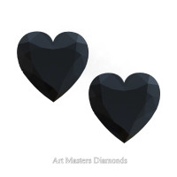 Art Masters Gems Set of Two Standard 1.0 Ct Heart Black Diamond Zirconium Created Gemstones HCG100S-BD