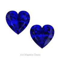 Art Masters Gems Set of Two Standard 1.0 Ct Heart Blue Sapphire Created Gemstones HCG100S-BS