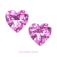 Art Masters Gems Set of Two Standard 1.0 Ct Heart Light Pink Sapphire Created Gemstones HCG100S-LPS