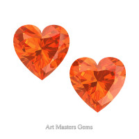 Art Masters Gems Set of Two Standard 1.0 Ct Heart Orange Sapphire Created Gemstones HCG100S-OS
