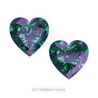 Art Masters Gems Set of Two Standard 1.0 Ct Heart Russian Alexandrite Created Gemstones HCG100S-RAL