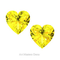Art Masters Gems Set of Two Standard 1.0 Ct Heart Yellow Sapphire Created Gemstones HCG100S-YS
