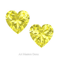 Art Masters Gems Set of Two Standard 1.5 Ct Heart Canary Yellow Sapphire Created Gemstones HCG150S-CYS
